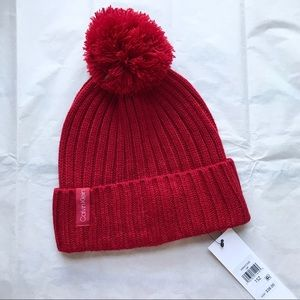 Calvin Klein NWT Red Knit Winter Hat
